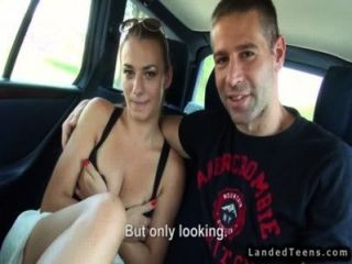 Hitchhiking couple fuck in back seat of car 1