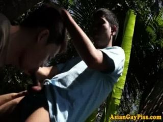 Piss Drenched Asian Twink Sucking Cock