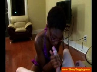 Spex Ebony Slut Jerking Dong