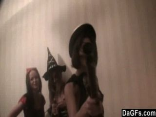 Three Costumed Lesbians Have Fun During Halloween Party