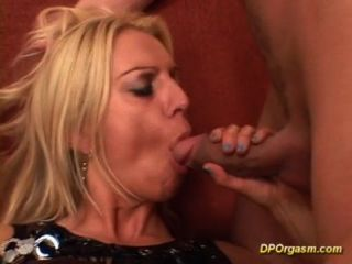Horny Blonde Fingers Her Asshole And Sucks One Black Dick And A White One!  Afte