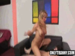 Busty Blonde Shemale Babe Getting Fucked Anally