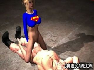 Foxy 3d Superwoman Bounces Up And Down On A Cock