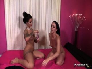 Two Beautiful Brunette Lesbians Oil Each Other