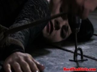 Brunette Restrained To Floor And Whipped