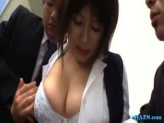 Busty Office Lady Getting Her Tits Massaged With Lotion Rubbed With Cocks By 2 G