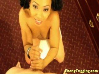 Pov Ebony Babe Working Cock
