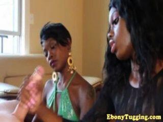 Pov Ebony Babes Tugging Cock