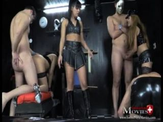 Lady A.j. Plays With 2 Slave And 5 Guests
