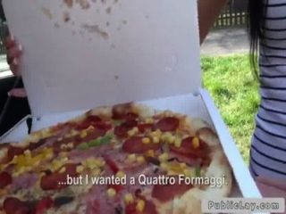 Delivery Pizza Girl Bangs In Public Outdoors