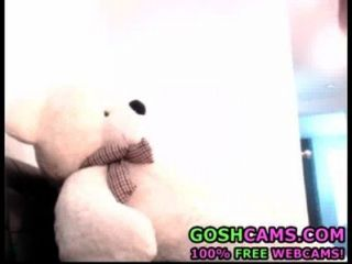 Stunning Young Teen Petite Brunette Babe In Knee Socks Fucks A Giant Teddy Bear