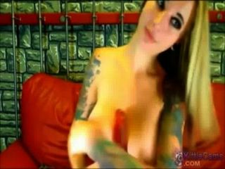 Tattooed Babe Dildos Her Pussy On Webcam