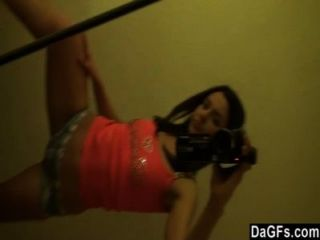 Home Alone Beautiful Petite Brunette Has Fun With Her Camera