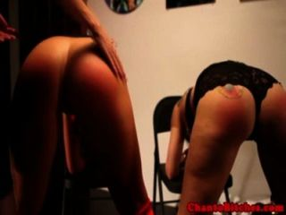 Femdom Domina Paddles Her Two Subs Asses