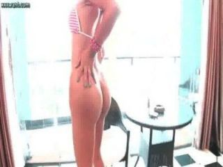 Ladyboy Touching Her Dick And Licks A Dildo