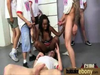 Ebony Babe Sucks Group Of White Guys 24