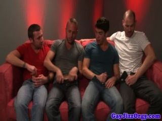 Group Of Jocks Enjoying Blowjob Session