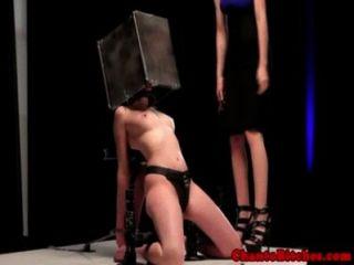 Lezdom Master Whips Sensory Deprived Sub