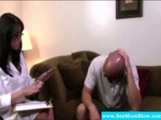 Brunette Milf Sucking On Hard Dick