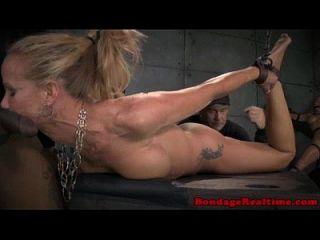 Hogtied Sub Sucking Interracial Dicks