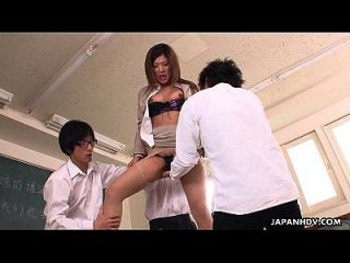 Naughty Japanese Teacher Sucking Off Her Students