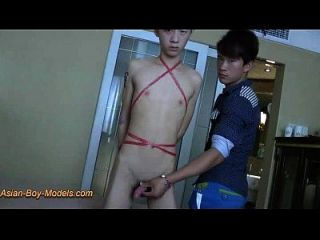 Big Cock Slim Twink Boy Bound Handjob