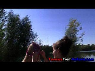 Cute Dutch Teens Outdoors