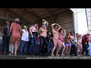 Milfy Chicks With Big Ole Tits Stripping Down In An Iowa Biker Rally