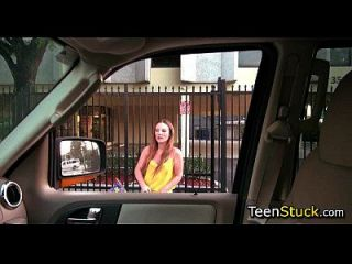 Teen Girl Jumps In Car For Ride