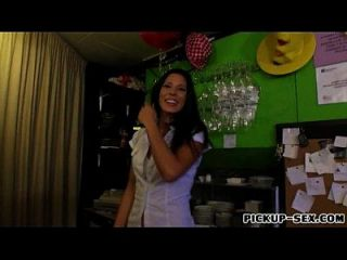 Barmaid Alexa Tomas Flashes Her Tits And Screwed Up For Cash