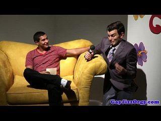 Orgy Loving Gay Hunk Gets Tagteamed