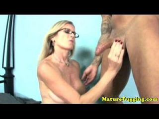 Blonde Spex Milf Jerking His Hard Cock