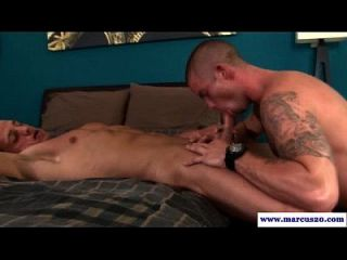 Muscular Gay Guy Sucks His Straight Pal
