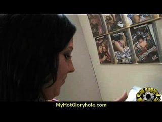 Horny Ebony Suck The Juice From Big White Gloryhole 4