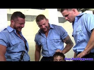 Group Of Gay Cops Sucked By Young Hunk