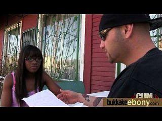 Ebony Gets Group Cumshots 5