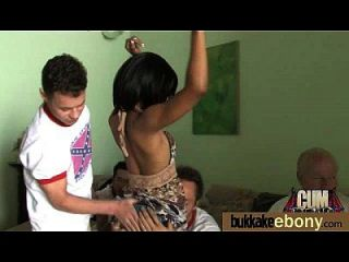Hot Ebony Chick In Interracial Gangbang 23