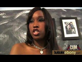 Ebony Gets Group Cumshots 4