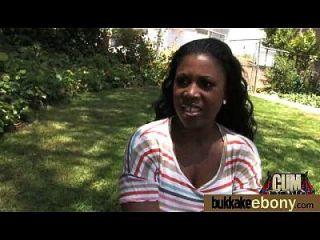 Ebony Gets Group Cumshots 21