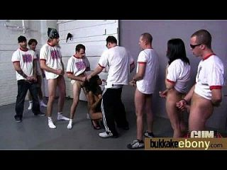Ebony Gets Group Cumshots 2