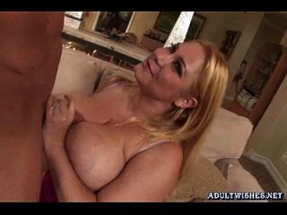 Blonde Slut With Massive Boobs Doing Blowjob