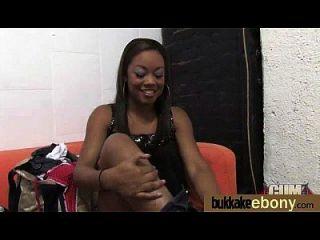 Ebony Gets Group Cumshots 25