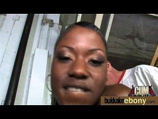 Ebony Gets Group Cumshots 18