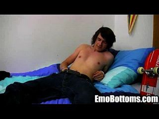 Emo Twink Cody Blake Tugs On His Cock In His Bed
