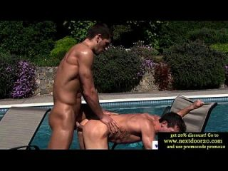 Amateur Muscle By The Pool Fucking