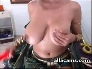 Cosplay Egyptian With Massive Boobs On Cam.