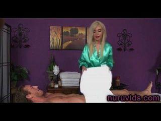 Sweet Blonde Masseuse Sucking Cock