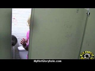 Ebony At The Gloryhole Jizzed On 2