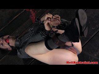 Jackknifed Submissives Pussy Paddled