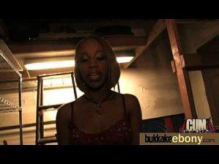 Ebony Cum Slut Hottie Bukkake Party 18